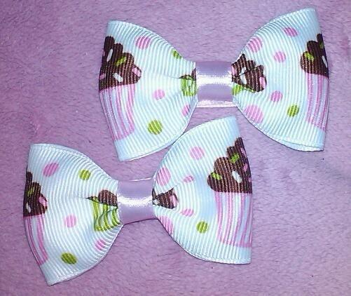 Cupcake Girls Mini Lolita Hair Bows Set by MmPresents on Etsy, $6.50
