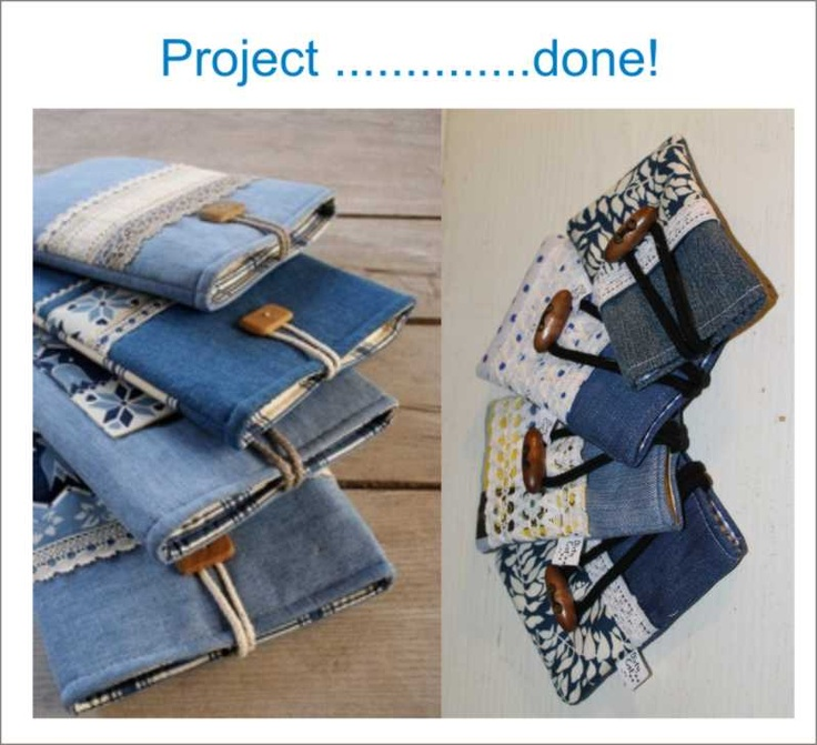 mobile and phones bag with recicled jeans