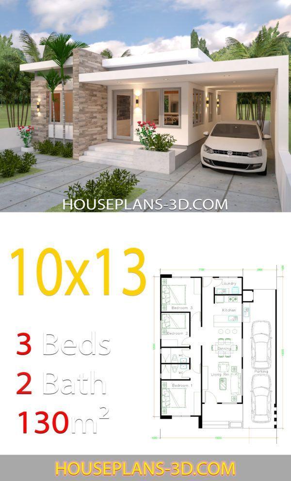 House Design 10x13 With 3 Bedrooms Full Plans House Plans 3d 10x13 Bedrooms De Planos De Casas 10x20 Diseno De Casas Sencillas Planos De Casas Sencillas