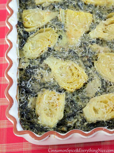 Cheesy Baked Artichokes and Spinach