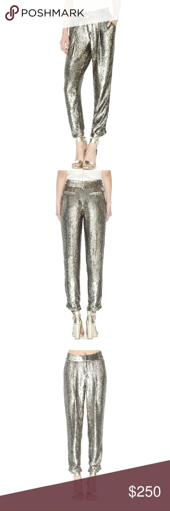 Alice and Olivia amazing silver sequin trousers Bold, Unapologetic, Super Edgy, These Sequin Pants Are Not For The Faint Of Heart. Fully Embellished, You Certainly Won't Be Missed. If You're Looking To Make A Statement, These Trousers Will Do The Trick. But Be Prepared-You'll Definitely Be The Life Of The Party. High Waist Front Zipper Closure - Zip fly with hook-and-bar closure - Slash pockets - Front pleats - Cuffed hems - Allover sequin construction, fully lined Shell:100% polyester…