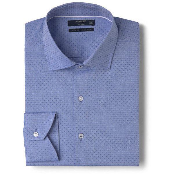MANGO MAN Slim-Fit Tailored Dot-Patterned Shirt ($60) ❤ liked on Polyvore featuring men's fashion, men's clothing, men's shirts, men's casual shirts, mens tailored shirts, mens wing collar shirt, mens cotton shirts, mens long sleeve cotton shirts and mens slim shirts