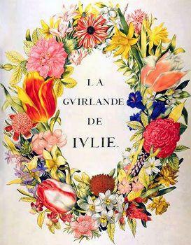 """frontispice de la Guirlande de Julie. - 2) CABINET DE LA MA. DE RAMBOUILLE: .. l'air est toujours parfumé dans son palais; diverses corbeilles magnifiques, pleines de fleurs, font un printems continuel dans sa chambre, et le lieu où on la voit d'ordinaire est si agréable et si bien imaginé, qu'on croit être dans un enchantement lorsqu'on est auprès d'elle"""" (Mlle de Scudéry)."""