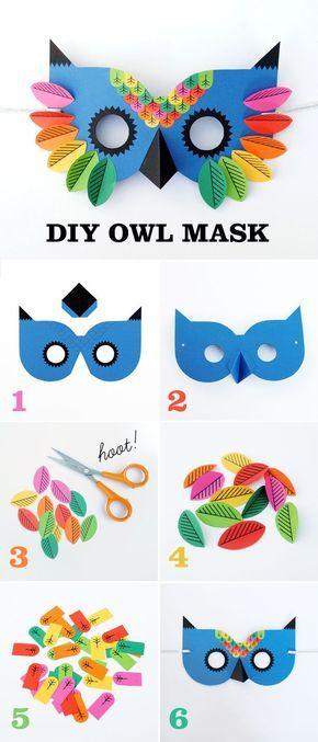 Máscara de coruja em papel com gabarito para imprimir .Great art and craft kits and nursery decor http://gillsonlinegems.blogspot.com