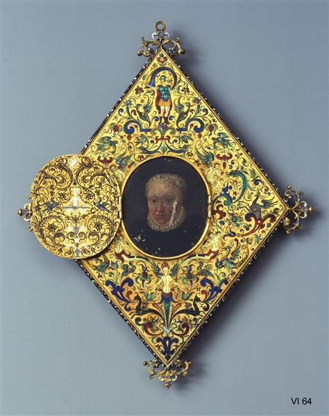 Diamond-shaped Mirror w/ Hidden Image of the Electress Sophia -- Circa 1600 -- Likely made in Southern Germany -- Kunsthistorisches Museum, Vienna: