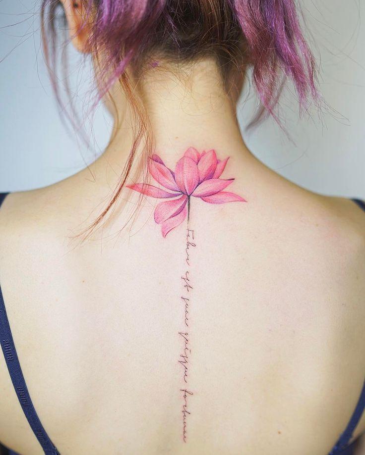"""7,676 Likes, 31 Comments - Nando Tattoo (@nandotattooer) on Instagram: """"머리색과 같은 색감의 연꽃 . . #tattoo #tattooist #tattoodesign #colortattoo #lotustattoo #flowertattoo #타투…"""""""