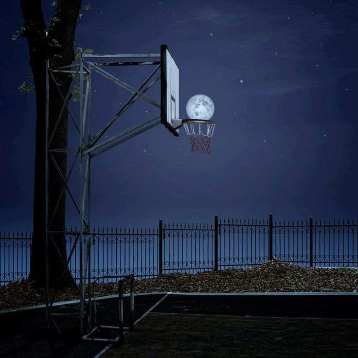 Basketball hoop and the Moon.