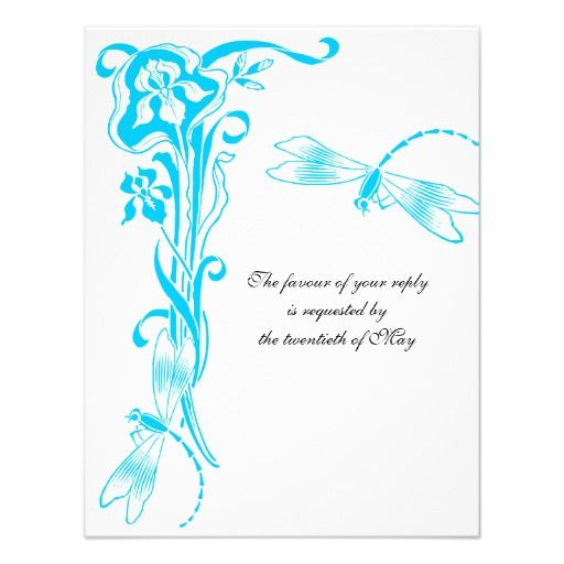 Iris & Dragonfly Oasis Blue Wedding Reply Cards Personalized Announcement
