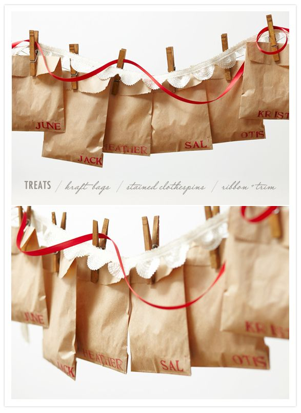 Print December dates on paper bags for advent activities for the kids