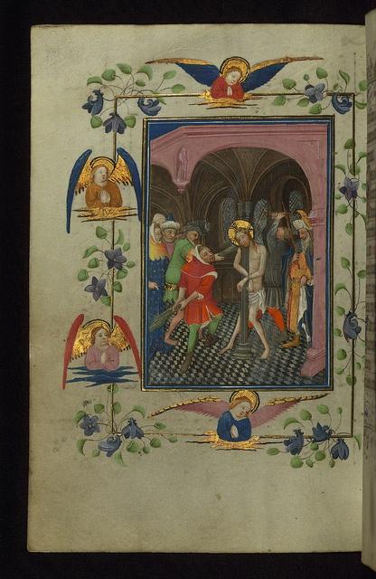 Illuminated Manuscript, Book of Hours, Flagellation, Walters Manuscript W.168, fol. 81v by Walters Art Museum Illuminated Manuscripts, via Flickr