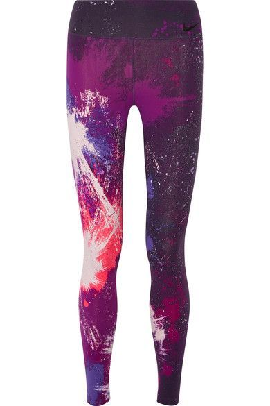 Nike - Power Legendary Printed Dri-fit Stretch Leggings - Dark purple -