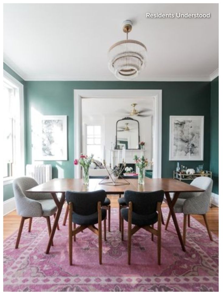Super Cute Eclectic Dining Room Paint Lafayette Green