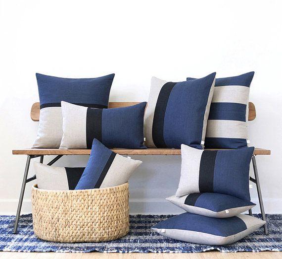 Blue Linen Pillow Cover Set Of 9   Decorative Pillows   Navy Blue, Black  And Natural Linen By JillianReneDecor, Spring Home Decor, Masculine