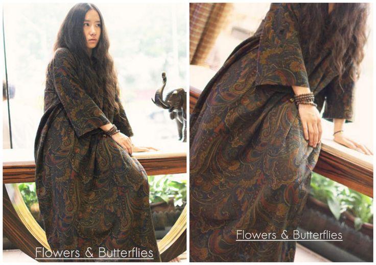 WORLDWIDE FREE SHIPPING Women Linen Dress Plus Size Long Loose Oversized Floral Paisley Maxi Loose Lagenlook Boho Dress Cotton Long Dress by FlowersButterflies15 on Etsy