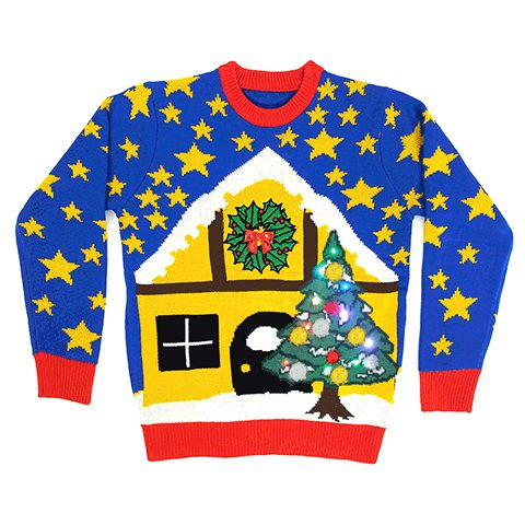 The light up Christmas Jumper that will dazzle even the most daring ugly Christmas jumper fans. The powerful and bold colours of the starry sky, set the winter scene for the log cabin and outdoor lighted Christmas tree.