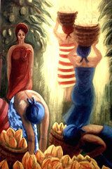 by Jo Roffe - Picking Cacao Pods. Oils on canvas