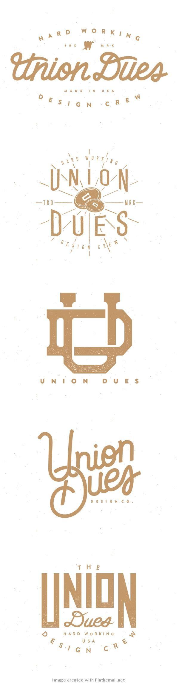 Logo type design hand lettering gold white vintage union dues