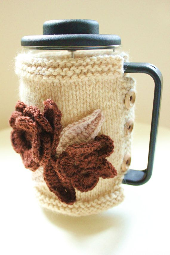 Coffee Pot Cosy Knitting Pattern : Cafetiere Cosy - Bodum Cosy - Coffee Pot Cosy / Cozy / Cover - LATTE
