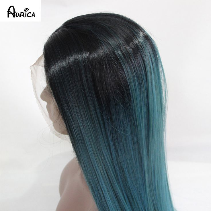 Ombre Turquoise Green Teal Silk Straight Synthetic Lace ...