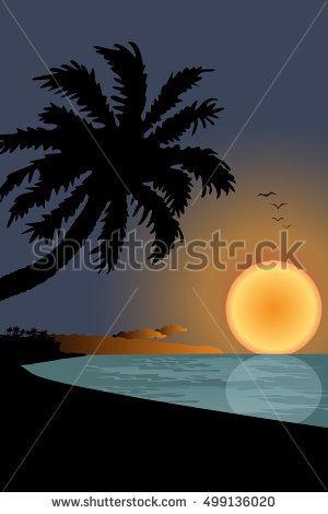 Sunset On Beach  vector Graphics