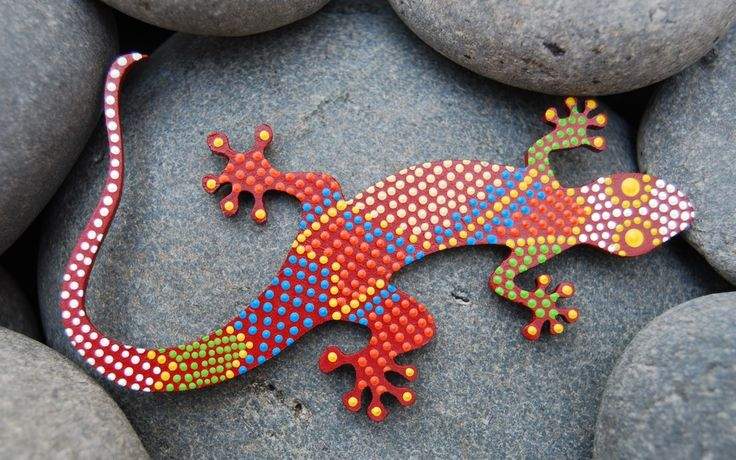 Image of Dot art painted Lizard -gecko- guaripete - tuqueque - G-09