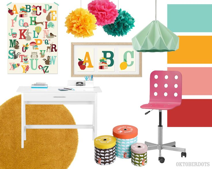 Colorful kidsroom collage with colorscheme