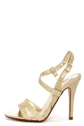 sparkly holiday // My Delicious Eliza Light Gold Dress Sandals via LuLu's $25