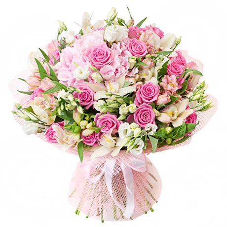 Нежный поцелуи букет цветов с днем рождения, цветов