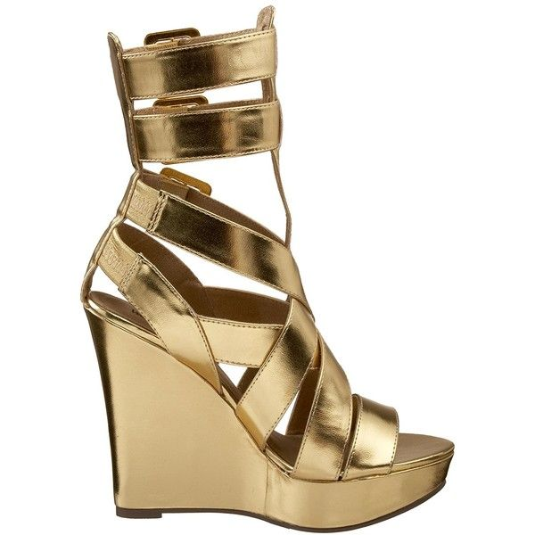 Amazon.com | Michael Antonio Women's Hail Wedge, Gold, 5.5 M US |... ($75) ❤ liked on Polyvore featuring shoes, sandals, gold wedge sandals, wedge sandals, gold wedge shoes, wide fit sandals and gold sandals