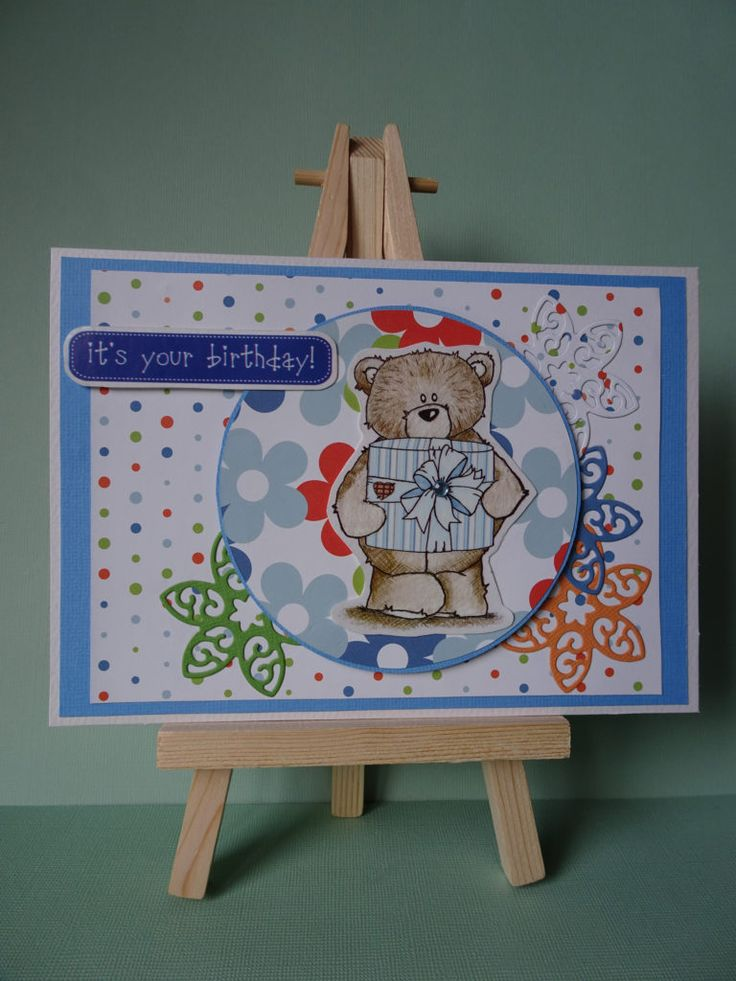Daisy and Dandelion Birthday Bear Floral card