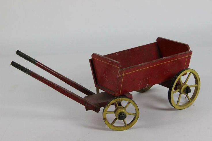 Spielzeug Wagen Bollerwagen Holz farbig gefasst lenkbar ~1900/20
