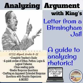 analysis of martin luther king s letter Rhetorical analysis of letter from birmingham jail in the spring 1963, martin luther king was jailed due to his non-violent demonstrations against racial segregation.