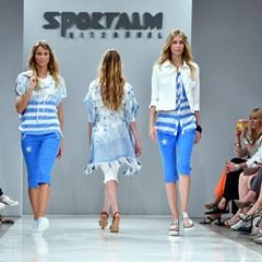 Models present Sportalm outfits at the Mercedes-Benz Fashion Week in Berlin
