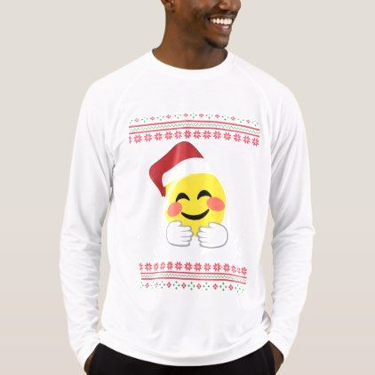 Santa Hug Smiley Emoji T-shirt Ugly Christmas - mens sportswear fitness apparel sports men healthy life