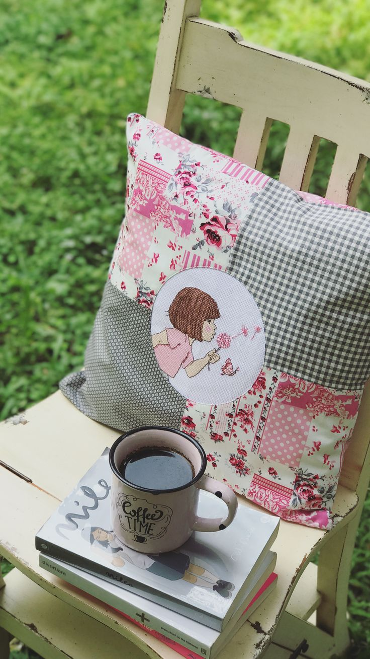 Throw pillow for daughter's pink-grey theme room... Cross stitch pattern by Belle and Boob