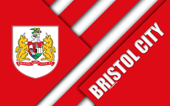 Download wallpapers Bristol City FC, logo, 4k, red abstraction, material design, English football club, Bristol, England, UK, football, EFL Championship