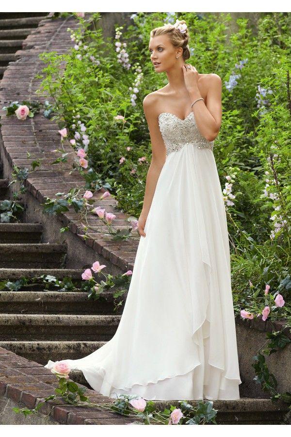 Vestidos de novia sencillos con espalda semidescubierta - Vestidos de Novia Gusewell