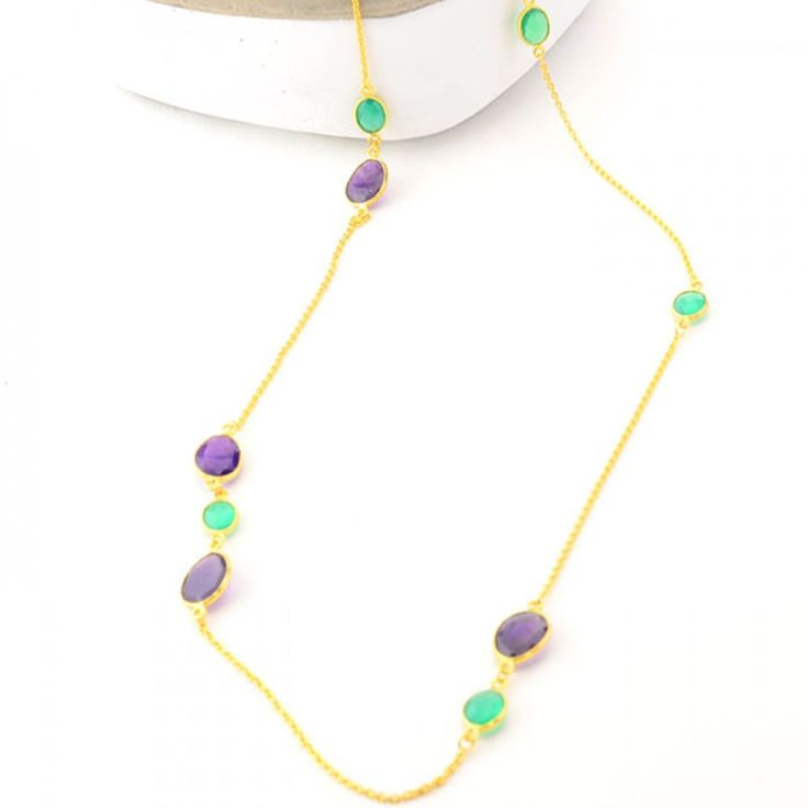 Cuff and Stone Purple Amethyst and Green Onyx Gold Necklace