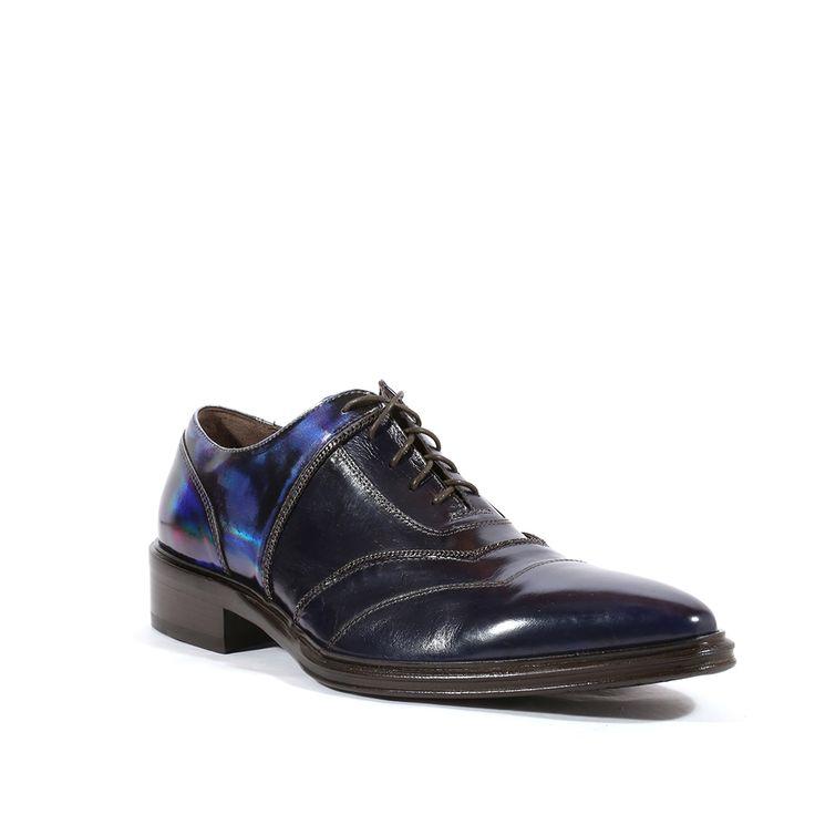 Jo Ghost Italian Mens Shoes Specchio Laser Oceano Spiaggia TDM Colorado Top Noce Blue Leather Oxfords (JG2108)