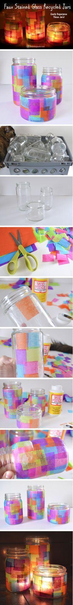 Tarros de vidrio de colores