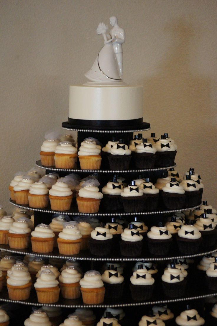Wedding cake with cupcake tower. Cute veil and tux cupcakes