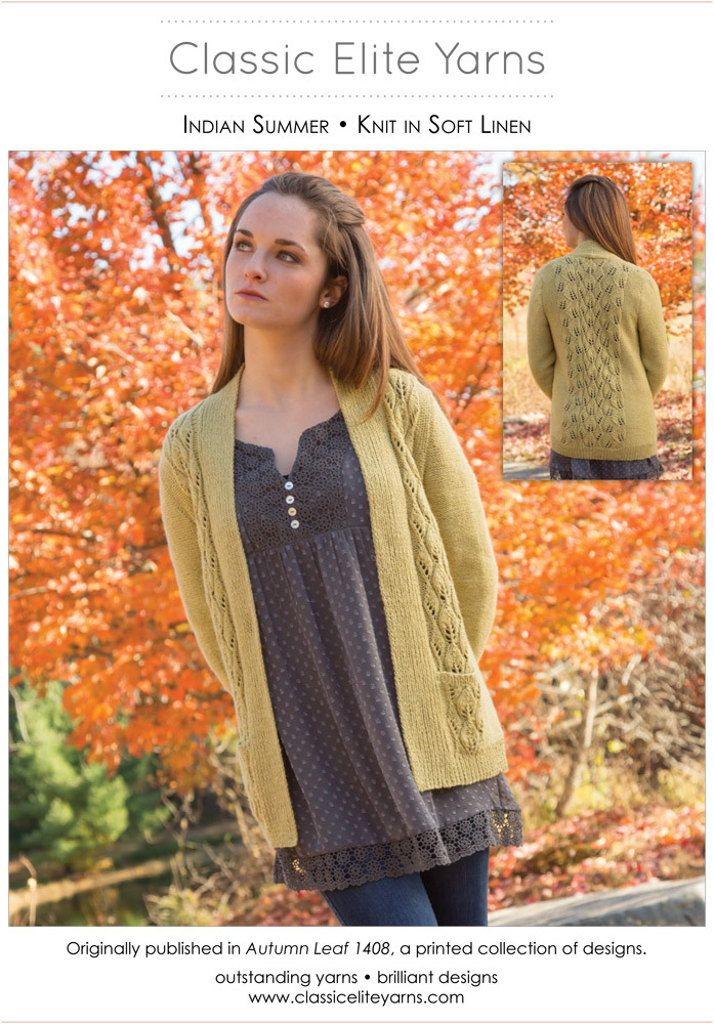 Indian Summer Cardigan in Classic Elite Yarns Soft Linen - Downloadable PDF. Discover more patterns by Classic Elite Yarns at LoveKnitting. The world's largest range of knitting supplies - we stock patterns, yarn, needles and books from all of your favour