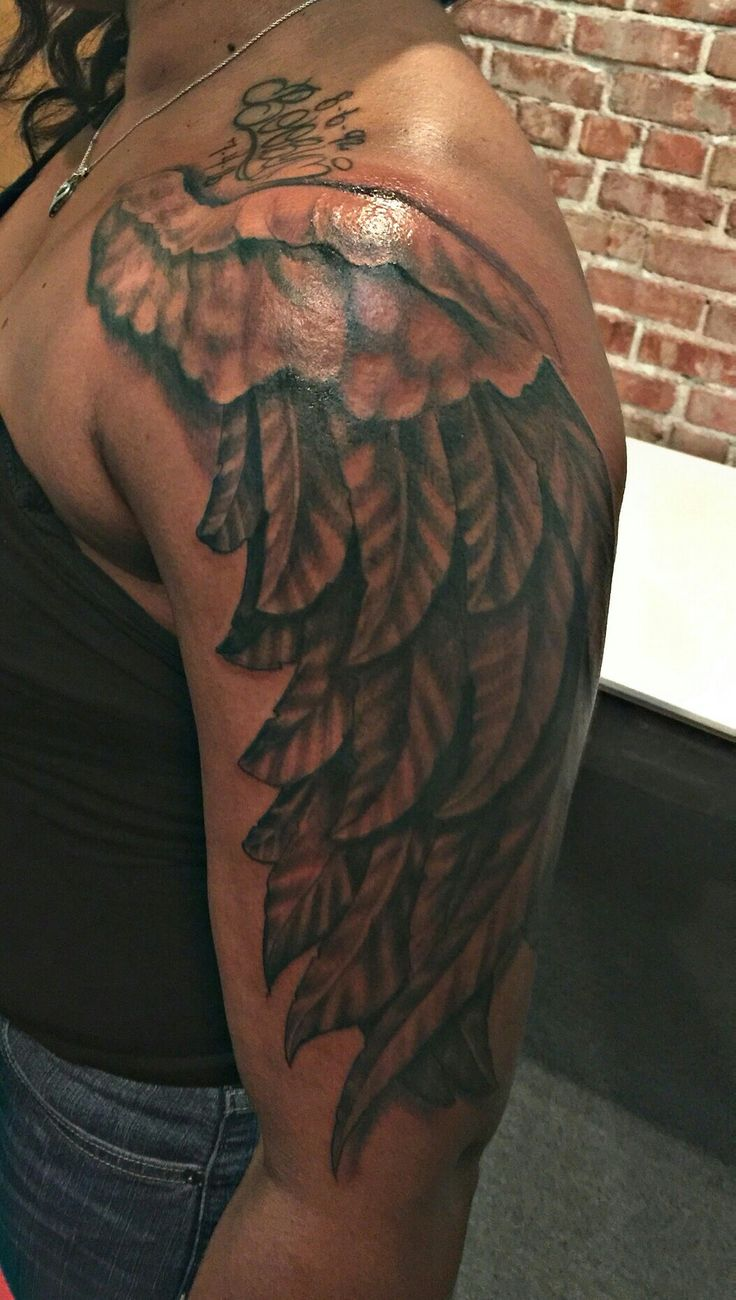 Angel Wing Shoulder Sleeve Tattoo