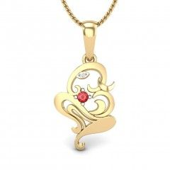 Combination of Lord Ganesha and Om along with a shiny ruby studded in the metal frame which gives a special look. Feel the eternal power of shree Ganesha Click here ~ http://www.candere.com/vakratunda-ruby-pendant.html