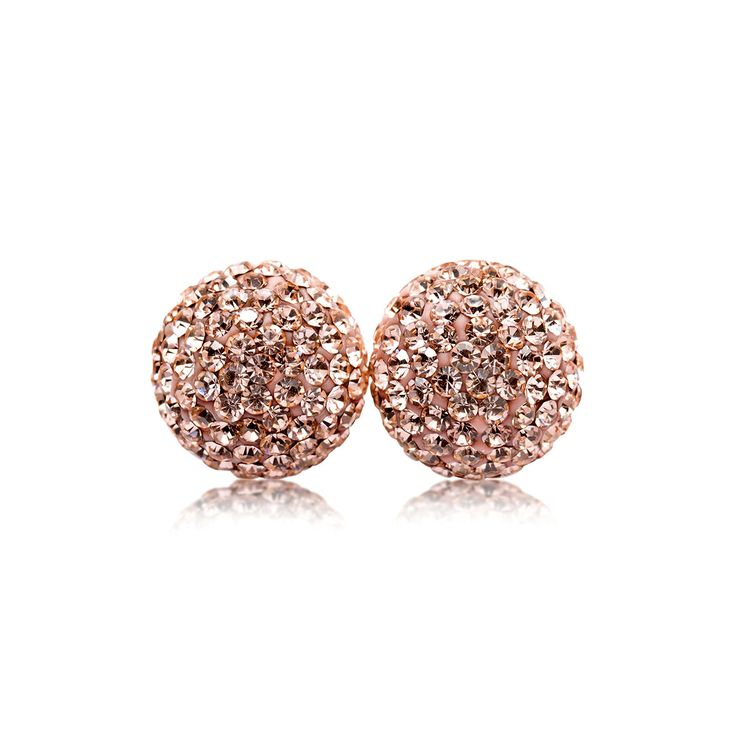 10mm Rose Gold Sparkle Ball Stud Earrings by Hillberg & Berk