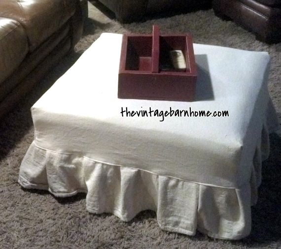 Transformation Tuesday...Drop Cloth Ottoman Slipcover (simple!)