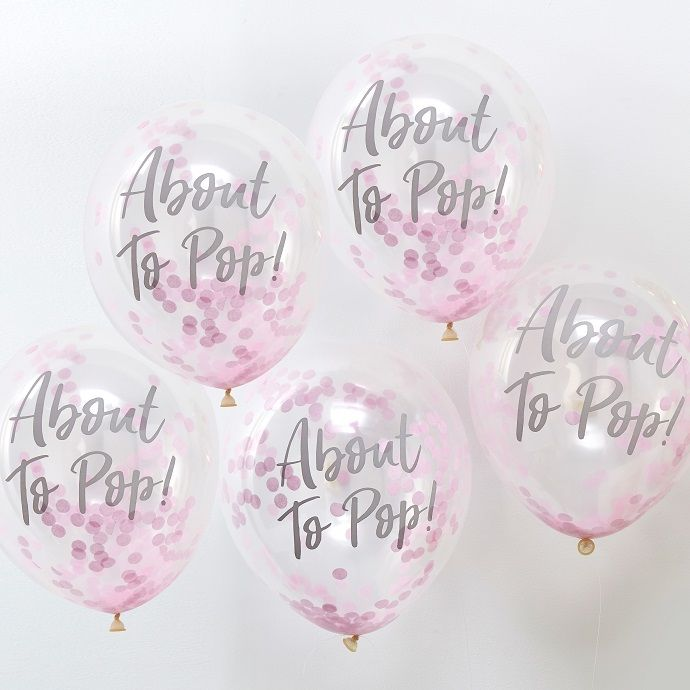 'About to pop' confetti balloons from partydelights.co.uk. The perfect addition to your baby shower decorations!