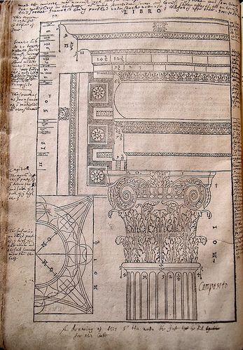 Inigo Jones's annotations on the Corinthian order in Book I of Andrea Palladio, I Quattro libri dell'architettura (Venice, 1601)