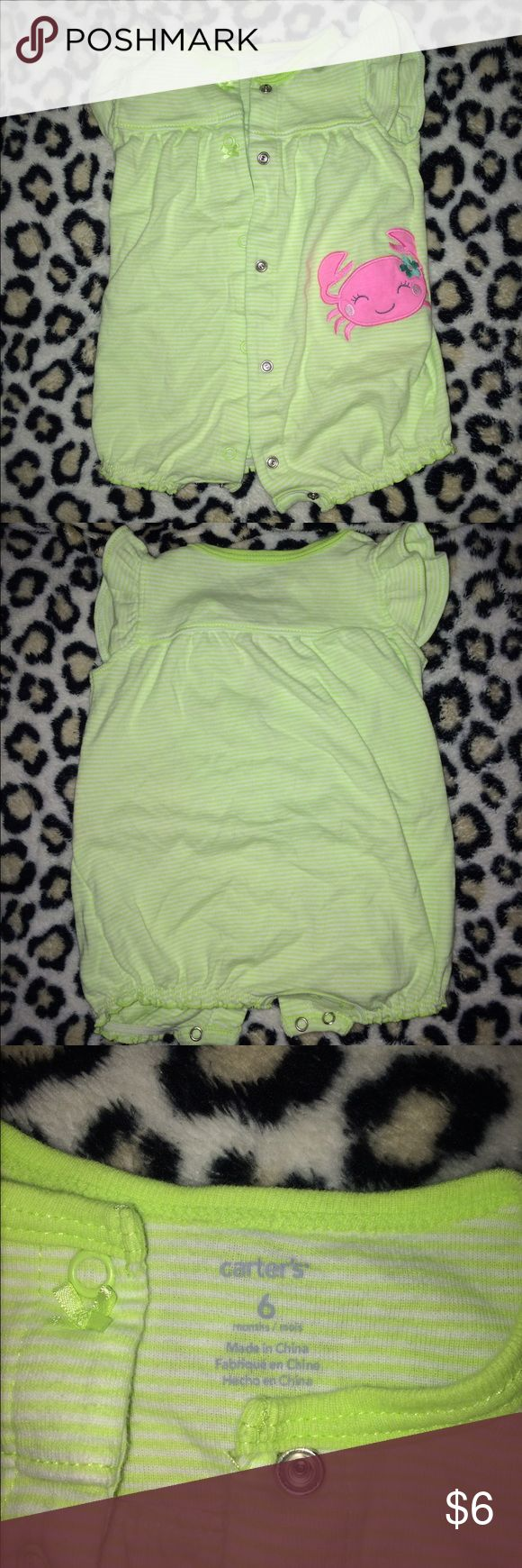 Carters 6 month lime green one piece outfit Carters lime green with tiny white stripes, short sleeve one piece or romper has pink crab on front. Perfect condition nwot size 6 months perfect for summer Carter's One Pieces