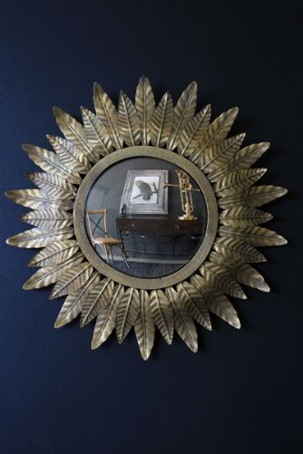 Small Gold leaf Sun Convex Mirror